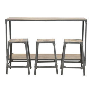 Iron Kitchen Table with 3 Nesting Stools