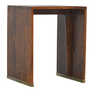 Chestnut Finish End Table with Gold Inlay