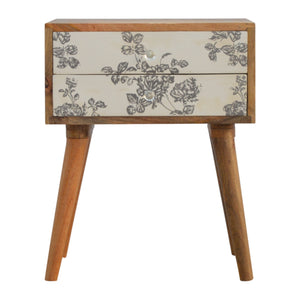 2 Drawer Black Floral Screen-printed Bedside