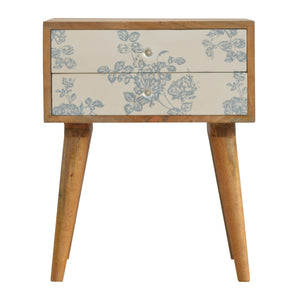 2 Drawer Blue Floral Screen-printed Bedside