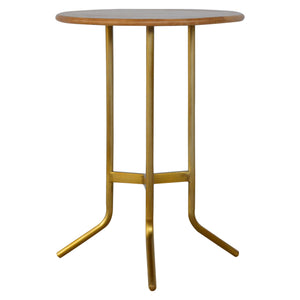 Caramel Tripod Tea Table with Gold Base