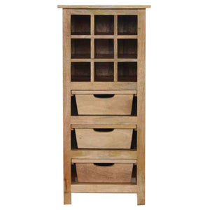 3 Drawer Wine Cabinet with 9 Wine Bottle Slots