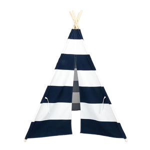Children's Indoor 4pcs Wooden Pole Teepee Tent - Blue and White Stripes