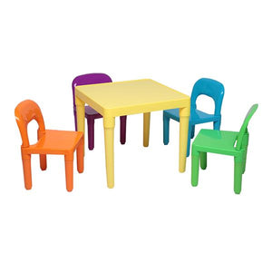 Children Colourful Table Set - One Desk And Four Chairs