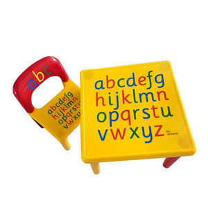 Children Letter Table Chair Set - Yellow & Red