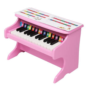 25-key Children's Wooden Piano Pink