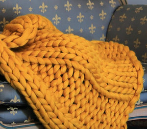 Giant Chunky Knitted Blanket Gold