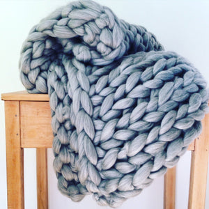 Giant Chunky Knitted Blanket Silver