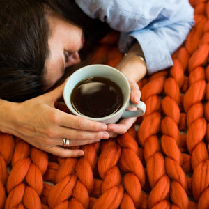 Giant Chunky Knitted Blanket Orange