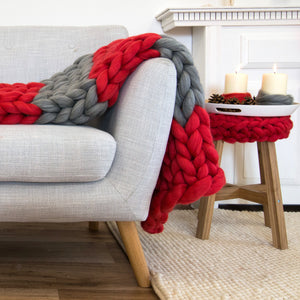 Giant Chunky Knitted Blanket Red Flag