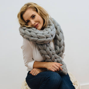 Giant Knitted Scarf Silver