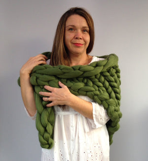 Chunky Knitted Shawl Forest Green