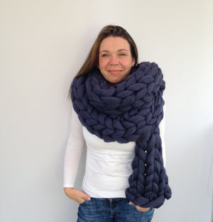 Giant Knitted Scarf Blue