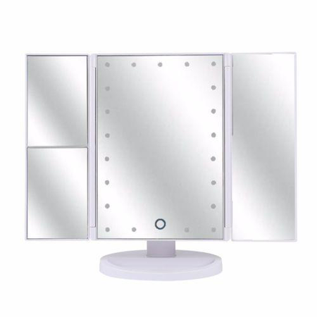 Vanity Makeup Mirror 1x/2x/3x Magnification with 21 LED Lights, Touch Screen and USB Charging