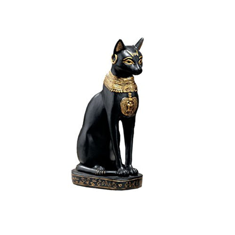 Bastet with Earrings Statue, in Matte Black