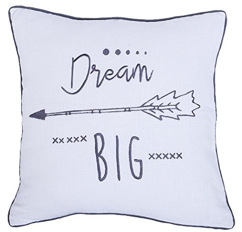 "Beautiful ""Dream Big"" Pillow Cover, 18""x18"", Ivory (pillow insert is not included)"