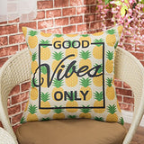 """Good Vibes Only"" Pineapple Pillow Case, Gold Yellow, 18"" x 18"" (pillow insert not included)"