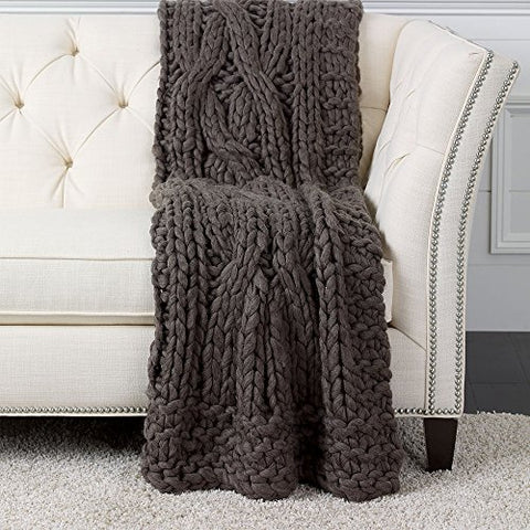 Ethan Allen Cross Cable Knit Throw, in Dark Brown