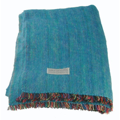 100% Alpaca Full Blanket in Turquoise