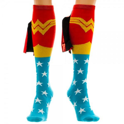 Wonder Woman Shiny Knee High Cape Socks, Licensed DC Comics Merchandise