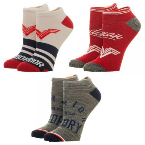 Wonder Woman Women's Ankle Socks, 3 Pack, Licensed DC Comics Merchandise