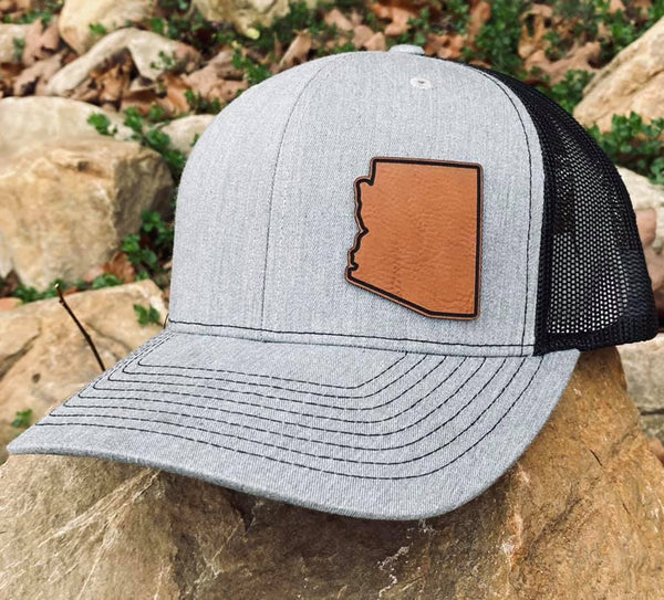 LHP0013 State Plain Leather Engraved Hat Patch Rawhide