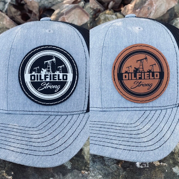 "LHP0007 Oilfield Strong Leather Engraved Hat Patch 2.5""x2.5"""