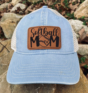 "LHP0011 Softball Mom Leather Engraved Hat Patch 3""x2"""