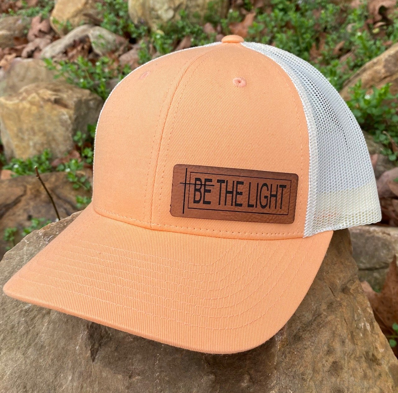 LHP0017 Be the Light Leather Engraved Hat Patch 2.75x1.1