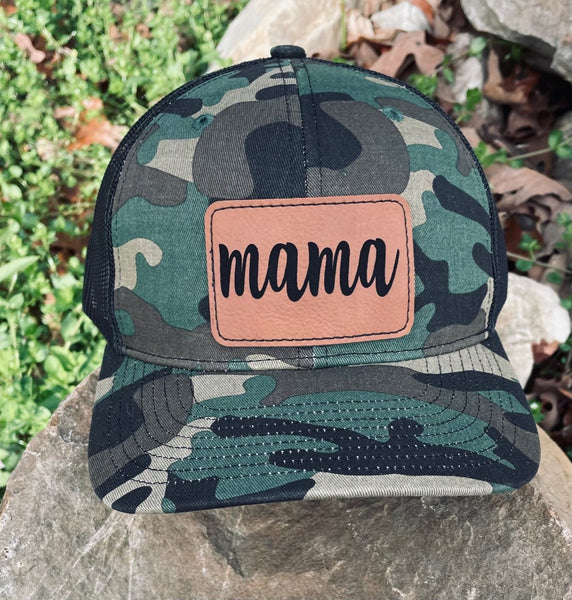 LHP0021 Mama Rectangle Leather Engraved Hat Patch 3x2