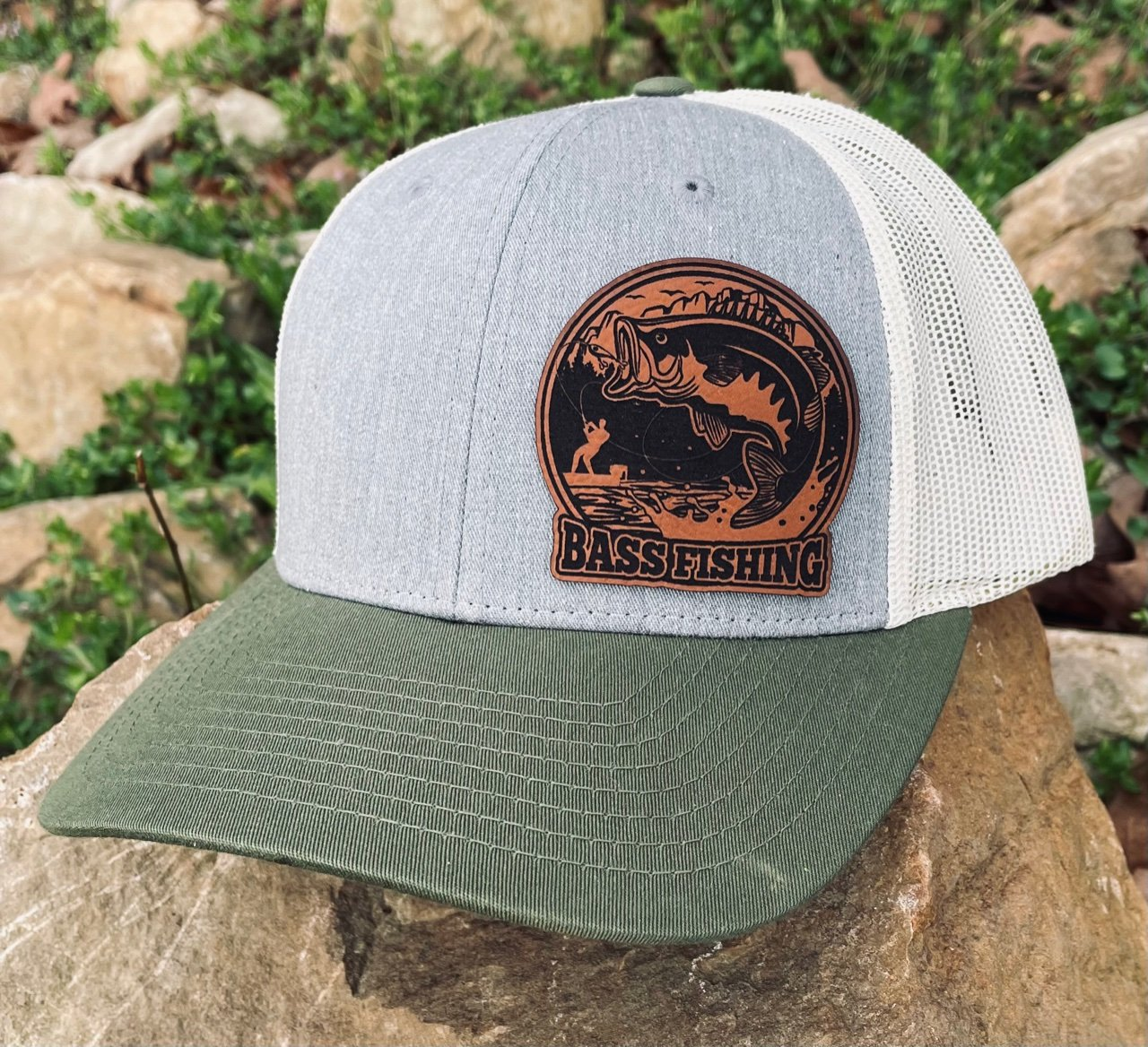 LHP0023 Bass Fishing Leather Engraved Hat Patch 2.5x2.5