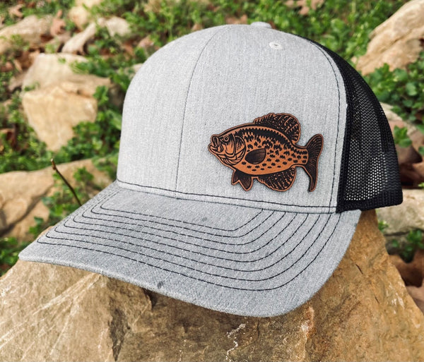 LHP0024 Crappie Fish Leather Engraved Hat Patch 2.5x1.5