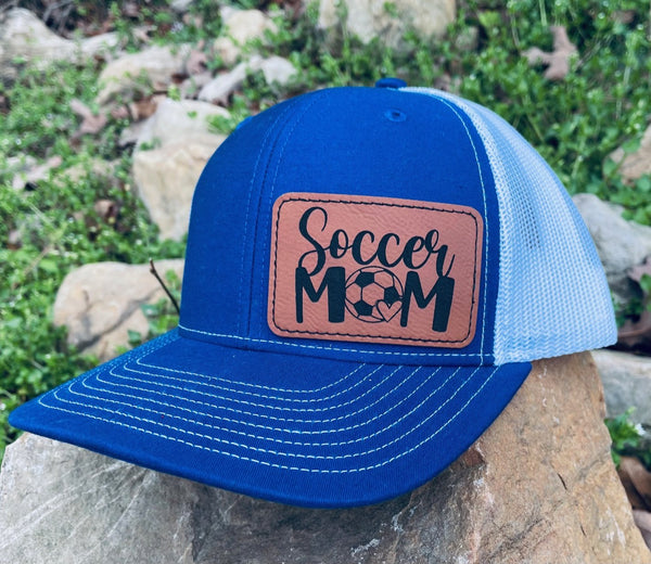 LHP0026 Soccer Mom Leather Engraved Hat Patch 3x2