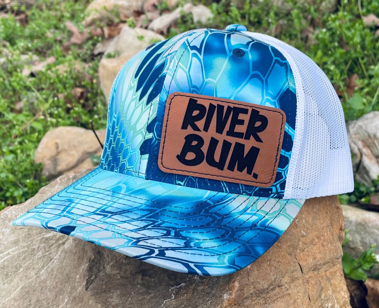 LHP0025 River Bum Leather Engraved Hat Patch 3x2