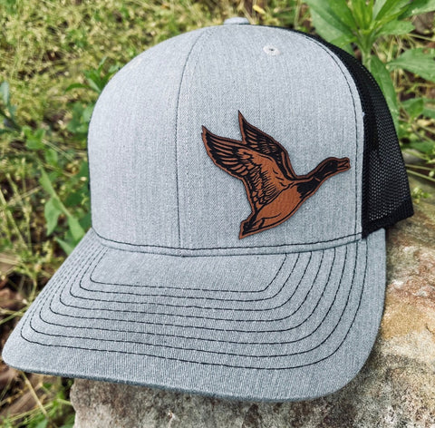 LHP0032 Duck Leather Engraved Hat Patch 3x2.25