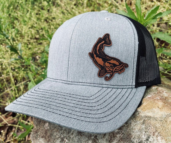 LHP0033 CatFish Leather Engraved Hat Patch 2.75x