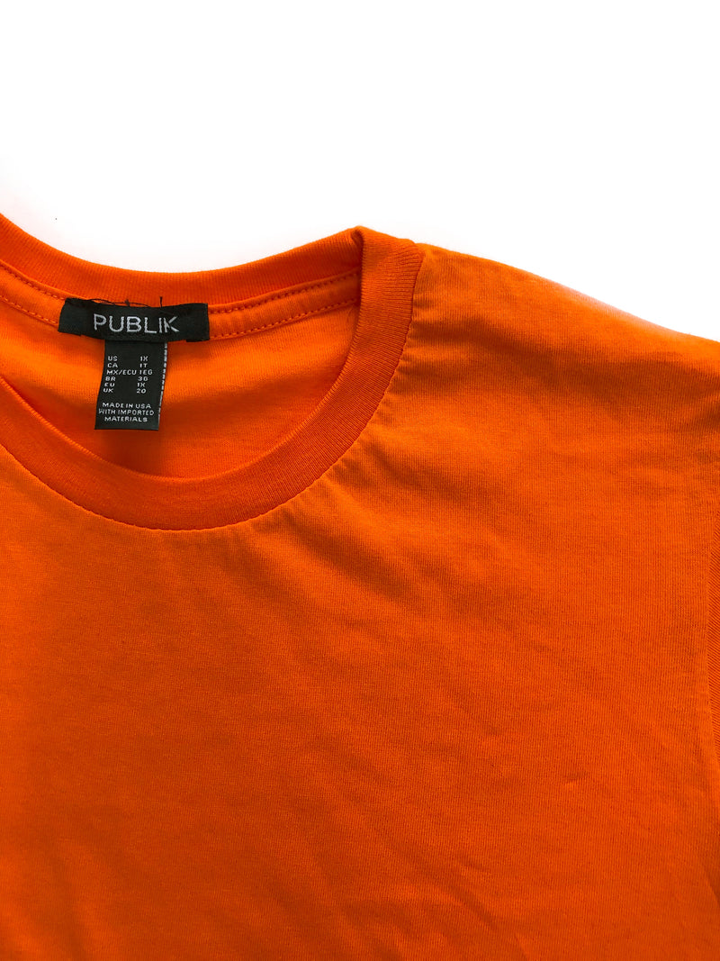 Basic Boyfriend Cotton T-Shirt - Orange
