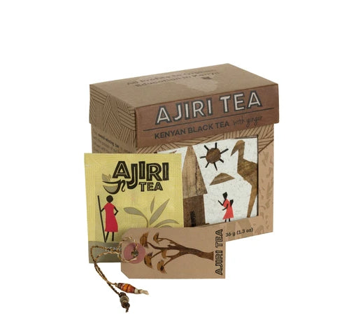 Full-bodied and smooth black tea blended with pieces of real ginger, Ajiri Black Tea with Ginger is delicious. The tea is grown in the Kisii Hills of western Kenya, an area known for its abundant rainfall and fertile soil