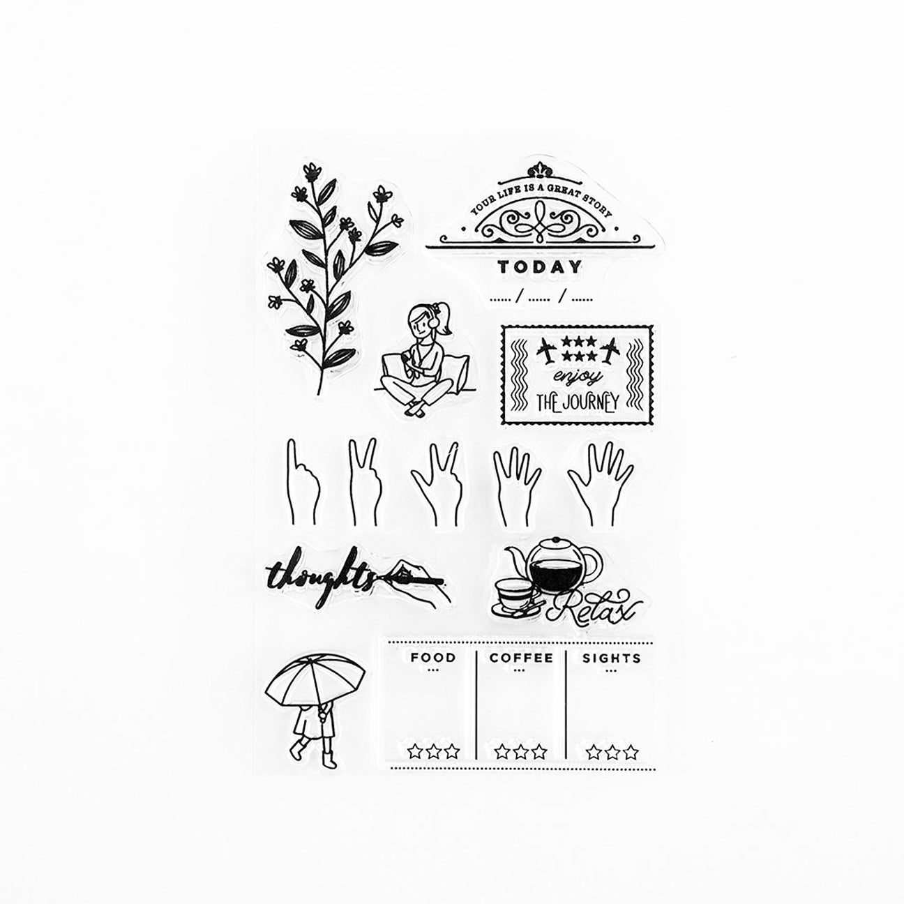 blinksoflife project life story bujo planner clear stamp