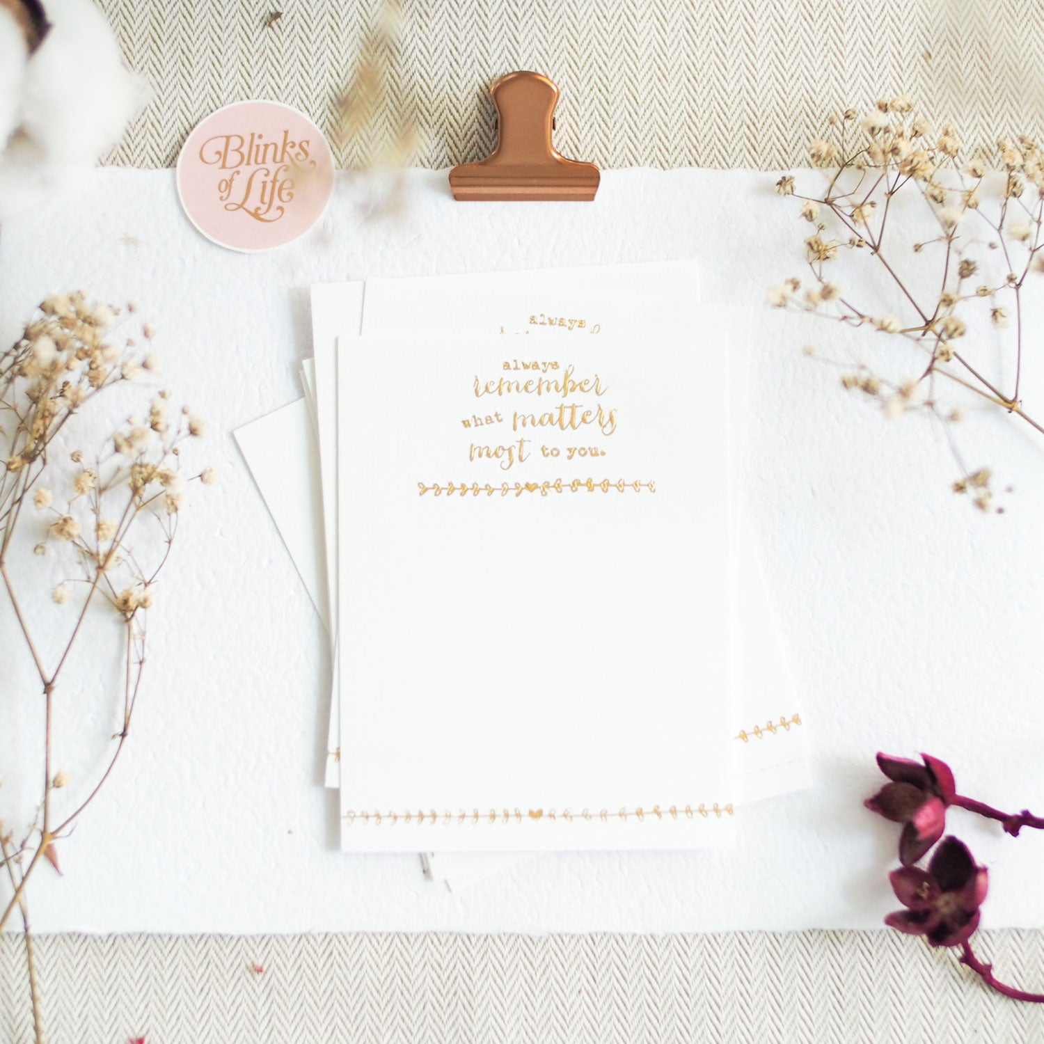 Always : Gold Letterpress Cards
