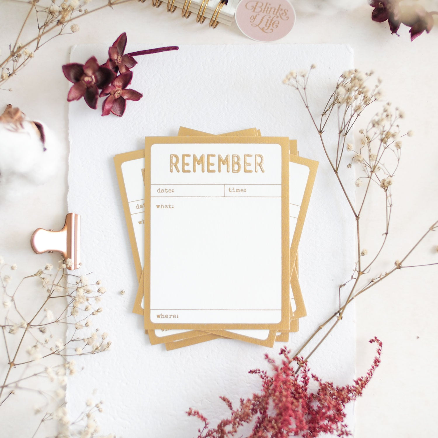 Remember : Gold Letterpress Cards