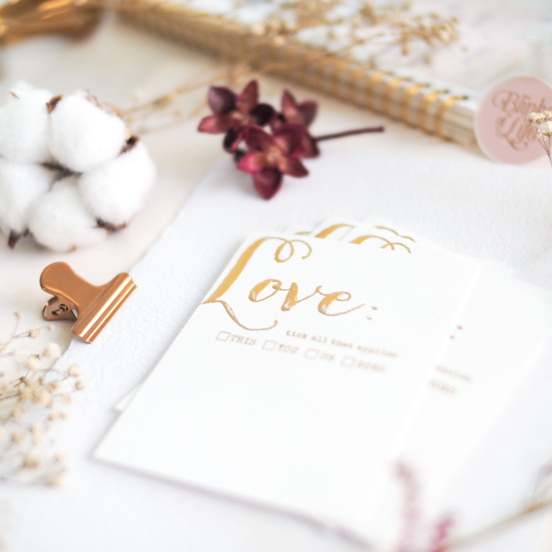 Love : Gold Letterpress Cards