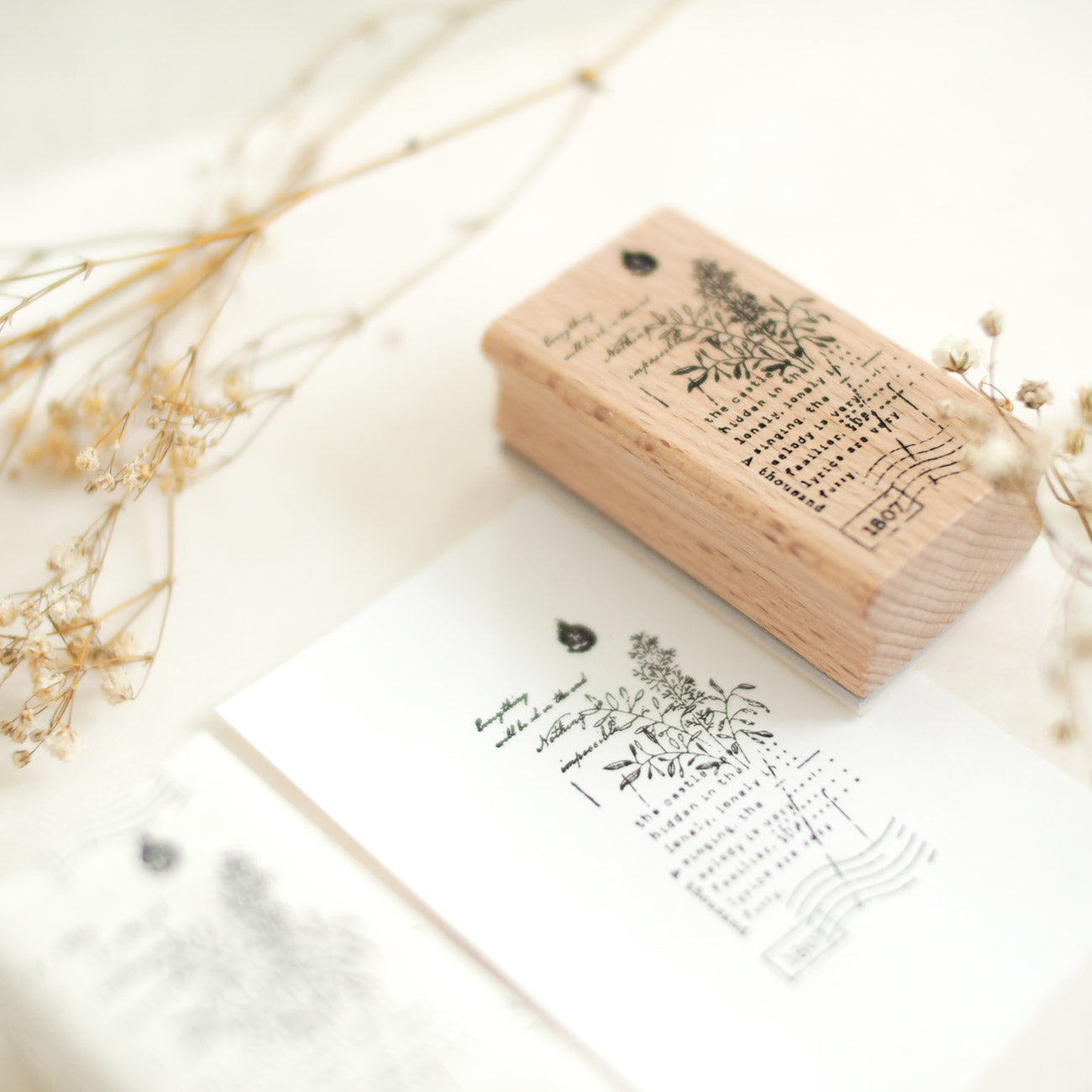 Rustic Vintage Botanical Collage Rubber Stamp: No. 13