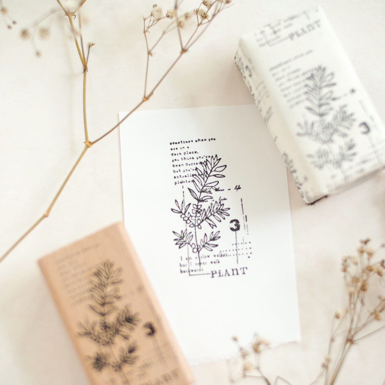 Rustic Botanical Collage Rubber Stamp: No. 03