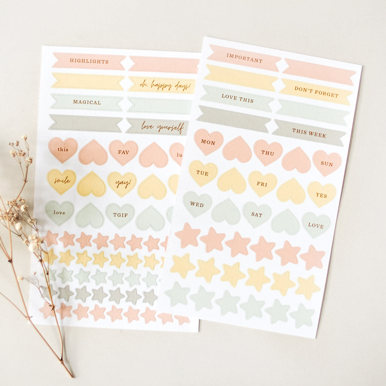 Label Stickers - Hearts & Stars