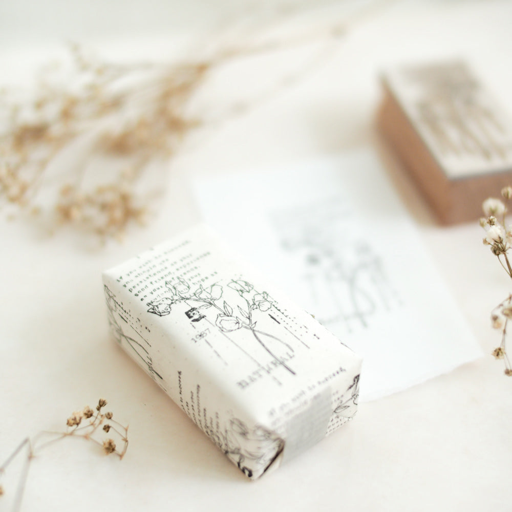 Rustic Botanical Collage Rubber Stamp: No. 05