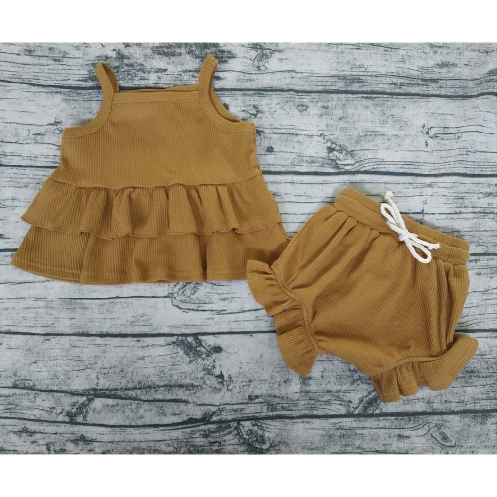 Cinnamon Crush Baby Girl Short Set - Little Adora and Company