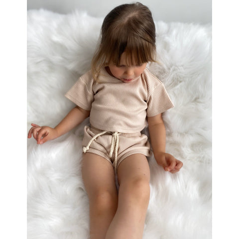 Stay Neutral Girls Short Set - Little Adora and Company