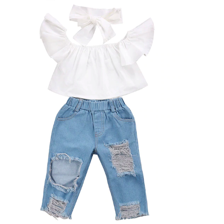 Uptown Girl Denim Jeans Set - Little Adora and Company