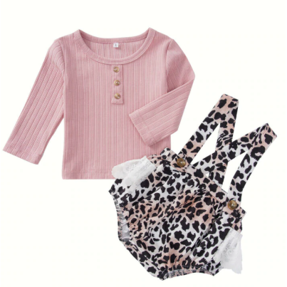 Pretty Leopard Baby Girl Romper Set - Little Adora and Company